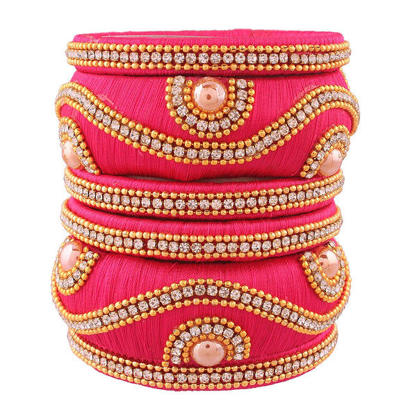 Traditional Gold Plated Silk Threaded Bangles Set Jewellery for Women-Girls