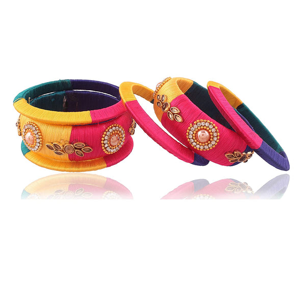 Traditional Multi-Color Silk Threaded Bangles Set Jewellery for Women-Girls