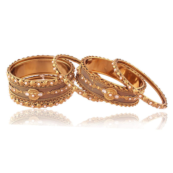 Traditional Gold Plated Pearl Bangles for Women