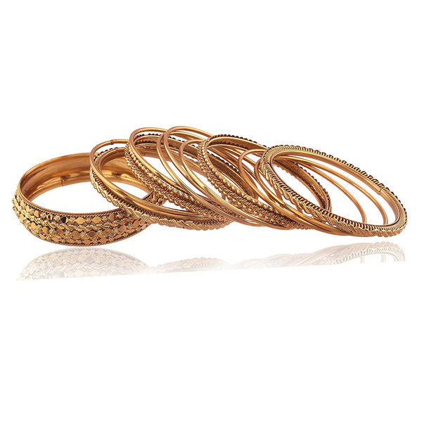 Traditional Gold Plated Bangles Set Jewellery for Women-Girls