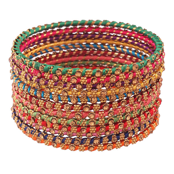 Traditional Multi-Color Silk Thread Bangle Set for Women & Girls