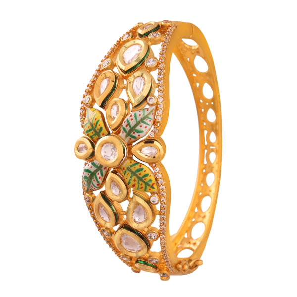 18K Gold Plated Intricately Handcrafted Enamel/Meenakari Glided With Uncut Polki Kundan Bracelet For Women/Girls