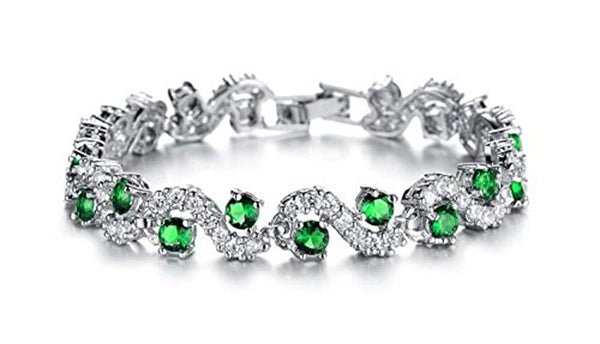 Green Crystal CZ Chain Silver Plated Bracelet for Women and Girls