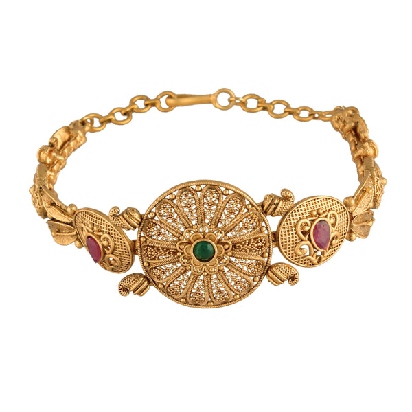 24K Gold Plated Intricately Handcrafted Adjustable Brass Bracelet For Women