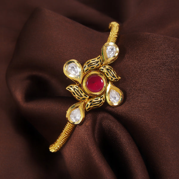 24K Gold Plated Intricately Handcrafted Ruby Adjustable Brass Bracelet/Kada Glided With Uncut Polki Kundan For Women
