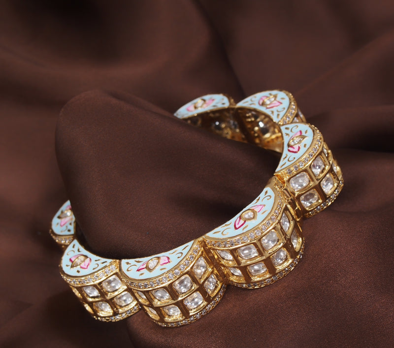 24K Gold Plated Intricately Handcrafted Turquoise Enamel Gajra Brass Kada Glided With Uncut Polki Kundan For Women