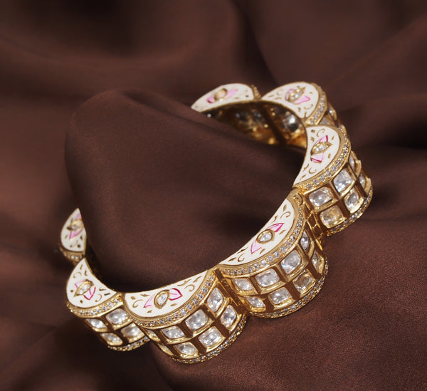 24K Gold Plated Intricately Handcrafted Ivory Enamel Gajra Brass Kada Glided With Uncut Polki Kundan For Women