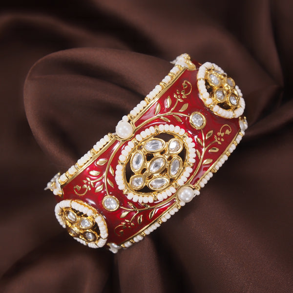 24K Gold Plated Intricately Handcrafted Beaded Red Enamel Brass Kada Glided With Uncut Polki Kundan & Edged With Beads For Women
