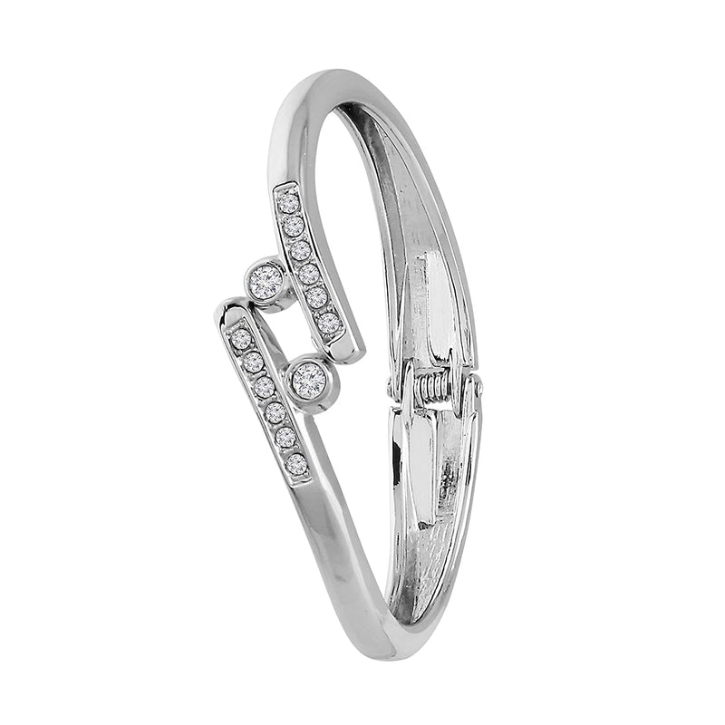 CZ Silver Plated Openable Bracelet for Women and Girls