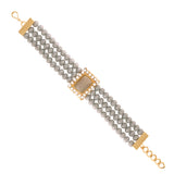 18K Gold Plated Traditional 3 Layered Grey Stone Beaded Bracelets For Women/Girls