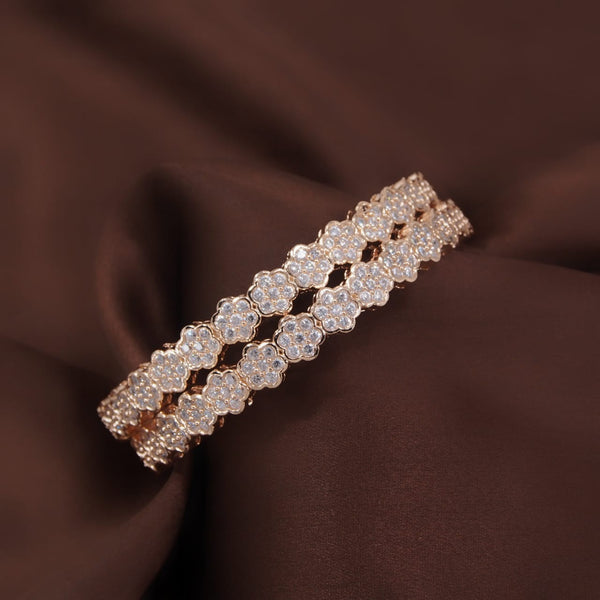 Traditional 18K Rose Gold Plated Floral Brass Bangles Encased With CZ American Diamonds For Women/Girls (ADB300RG)
