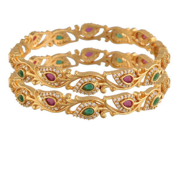 Traditional 18K Gold Plated Brass Bangles Encased With American Diamonds For Women/Girls (ADB303MG)