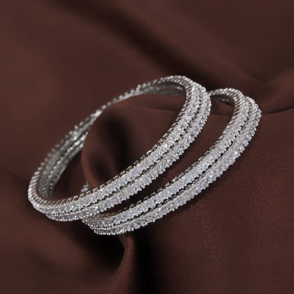 18K Silver Plated Traditional Brass Bangles Encased With CZ American Diamonds For Women/Girls (ADB304S)