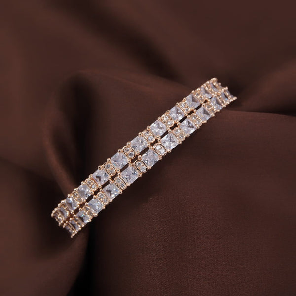 18K Rose Gold Plated Traditional Thick Brass Bangles Encased With CZ American Diamonds For Women/Girls (ADB305RG-a)