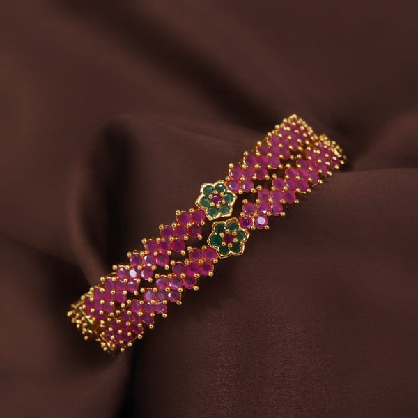 18K Gold Plated Traditional Brass Bangles Encased With CZ American Diamonds For Women/Girls (ADB306MG)