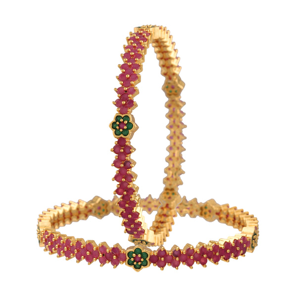 18K Gold Plated Traditional Brass Bangles Encased With Ruby & Emerald CZ American Diamonds For Women/Girls (ADB306MG)