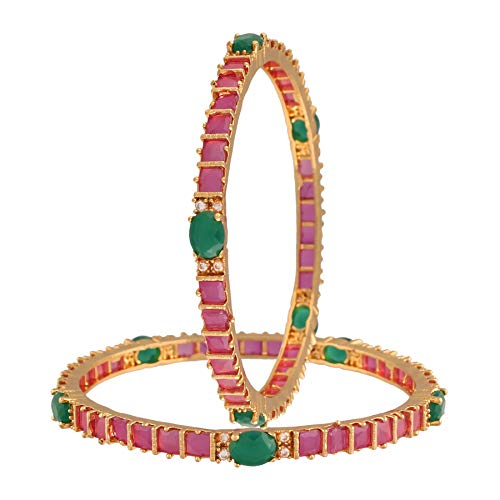 18K Gold Plated Traditional Brass Bangles Encased With Ruby & Emerald CZ American Diamonds For Women/Girls (ADB309MG)