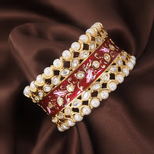 24K Gold Plated Intricately Handcrafted Beaded Enamel Brass Kada Glided With Uncut Polki Kundan & Edged With Pearls For Women
