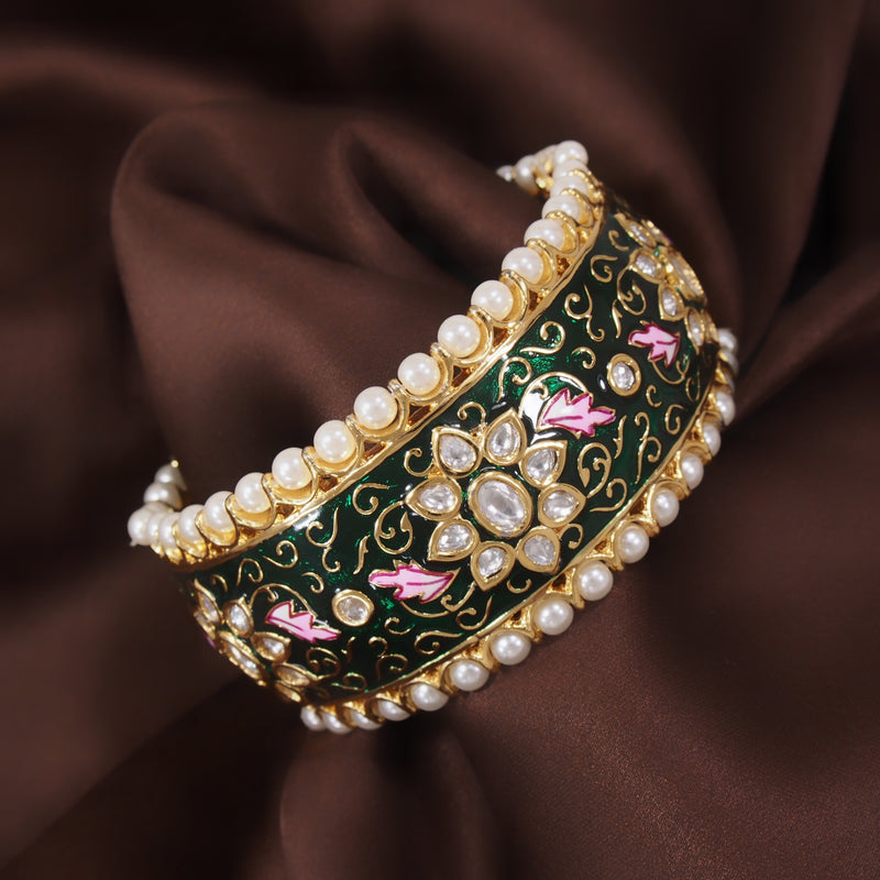 24K Gold Plated Intricately Handcrafted Beaded Green Enamel Brass Kada Glided With Uncut Polki Kundan & Edged With Pearls For Women