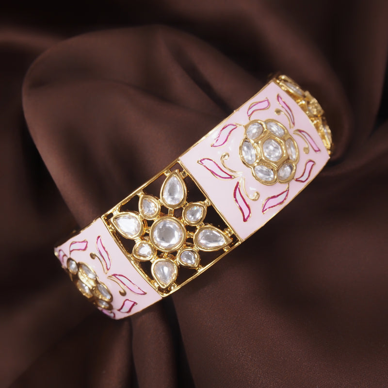 24K Gold Plated Intricately Handcrafted Beaded Pink Enamel Brass Kada Glided With Uncut Polki Kundan Women