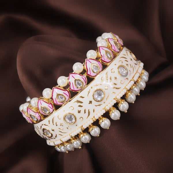 24K Gold Plated Intricately Handcrafted Beaded White Enamel Brass Kada Glided With Uncut Polki Kundan & Edged With Pearls For Women