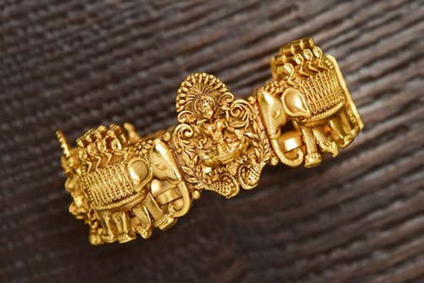 24K Gold Plated Intricately Handcrafted Antique Brass Kada Engraved With Goddess Laxmiji & Elephants (Pack Of 1)