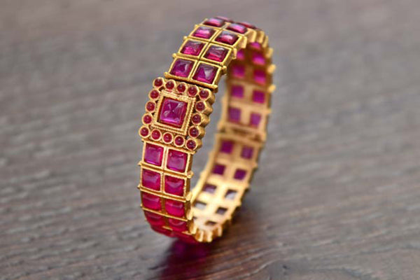 24K Gold Plated Intricately Handcrafted Antique Brass Kada Glided With Kempu (Ruby) Stones (Pack Of 1)