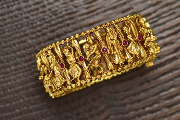 24K Gold Plated Intricately Handcrafted Antique Brass Kada Engraved With Nrutyagana (Pack Of 1)