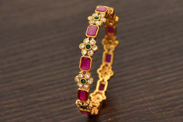 24K Gold Plated Intricately Handcrafted Antique Brass Kada Encased With Ruby, Emerald & White Stones (Pack Of 1)
