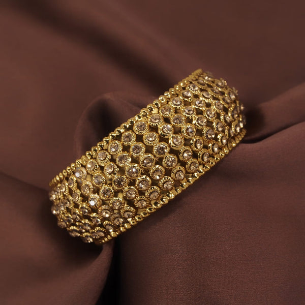 18K Gold Plated Intricately Handcrafted Kada Embellished with Stones For Women (ADB425FL)