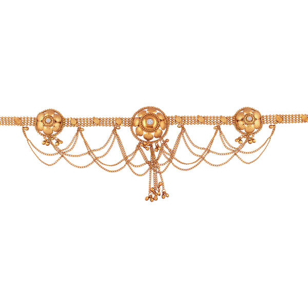 Traditional Gold Plated Stone Studded Kamarband for Women (B024)