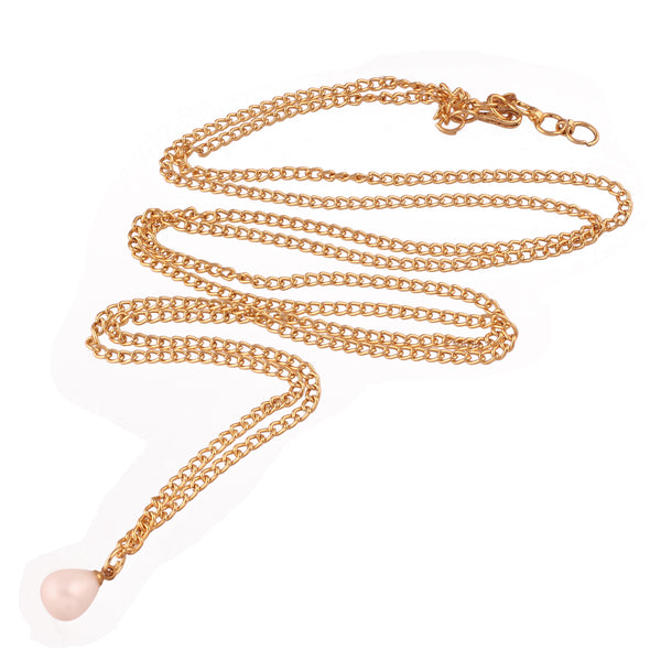 Traditional Gold Plated Chain Kamarband with Single Pearl for Women (B025)