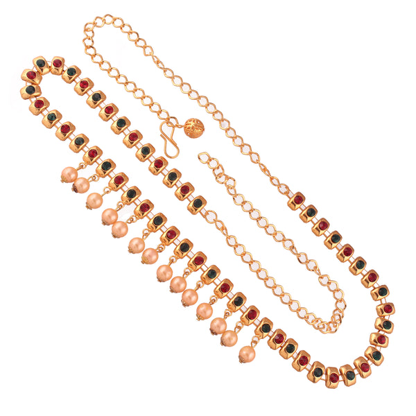 Traditional Gold Plated Multi-Colour Stone Studded Kamarband with Pearls for Women (B026)