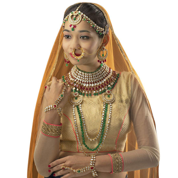 Green and Maroon Gold Plated Traditional Ethnic Indian Kundan Dulhan Bridal Jewellery Set for Women