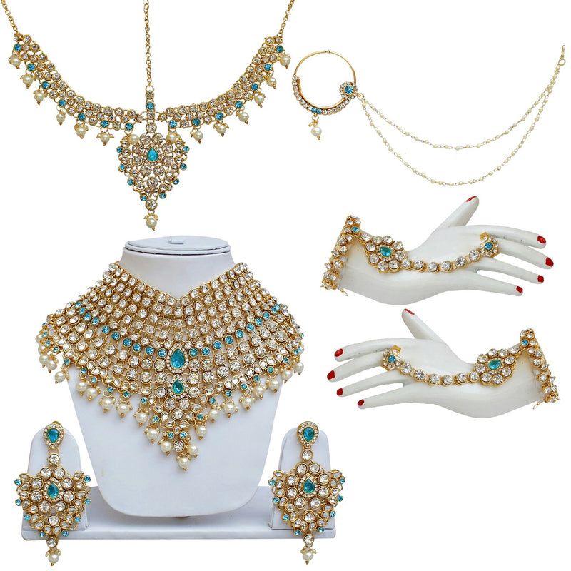 Traditional Gold Plated Kundan Pearl  Ethnic Bridal Wedding & Engagement Jewellery Set for Women