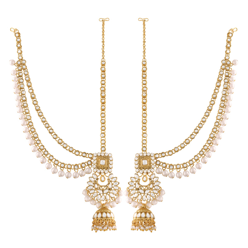 18K Gold Plated Traditional Handcrafted Faux Kundan & Stone Studded Bridal Jewellery Set For Women (BLP026W)