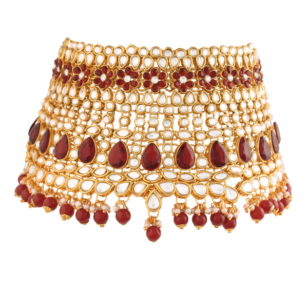 18K Gold Plated Traditional Handcrafted Faux Kundan & Ruby Stone Studded Bridal Jewellery Set For Women (BLP027M)