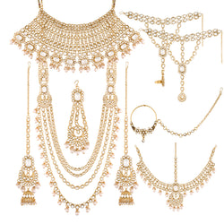 18K Gold Plated Traditional Handcrafted Faux Kundan & Stone Studded Bridal Jewellery Set For Women (BLP029W)