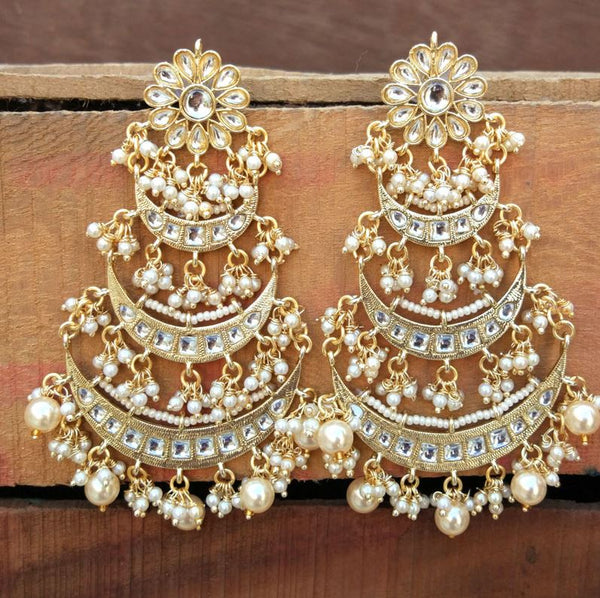 18k High Gold Matt Finish Plated Long 3 Layered Beaded Chandbali Earrings with Kundan & Pearl Work for Women (E2859)