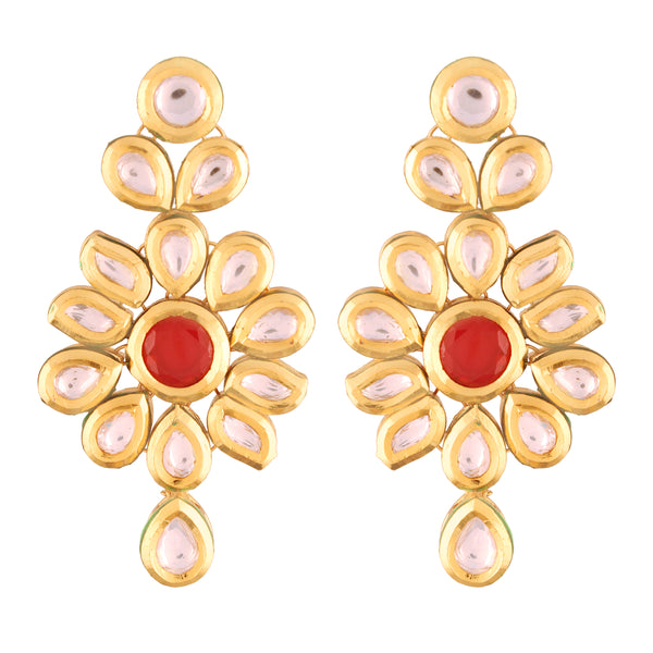 18K Gold Plated Intricately Designed Traditiona  Brass Earrings Glided With Uncut Polki Kundans