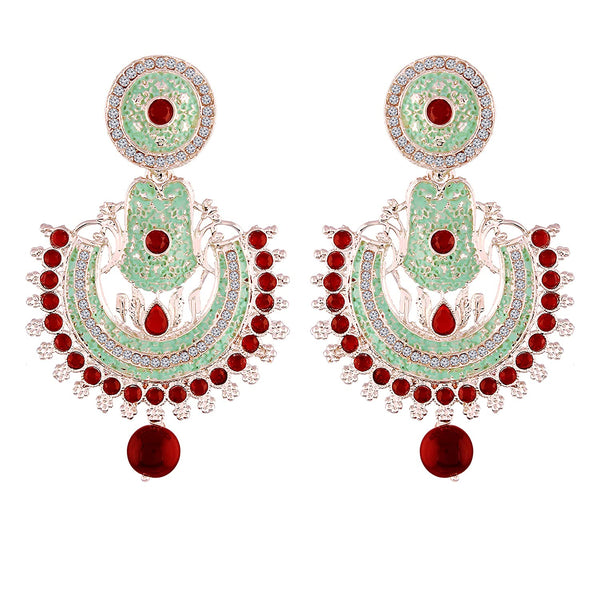 Traditional Rhodium Plated Meenakari & Stone Studded Chandbali Earrings for Women (E2015S)