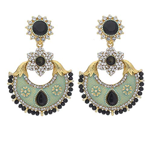 Traditional Gold Plated Meenakari & Stone Studded Chandbali Earrings for Women (E2021)