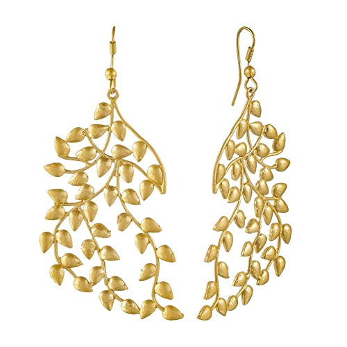 Gold Plated Matte Finish Vintage Petal Shaped Earrings for Women (E2028)