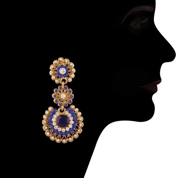 Traditional Gold Plated Stone Lookethnic Elegant Earrings for Women