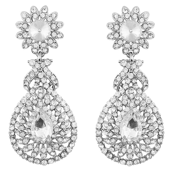 Silver Plated Austrian Diamond Earrings for Women E2100ZW (White)