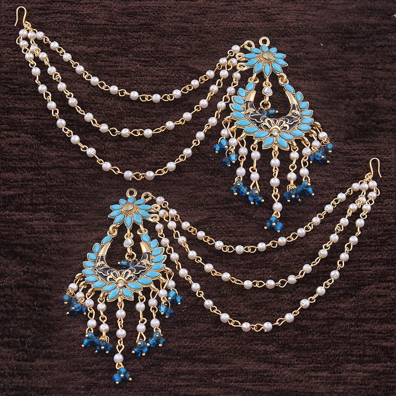 High Gold Plated Earrings with Hair Chain for Women (E2442SB)