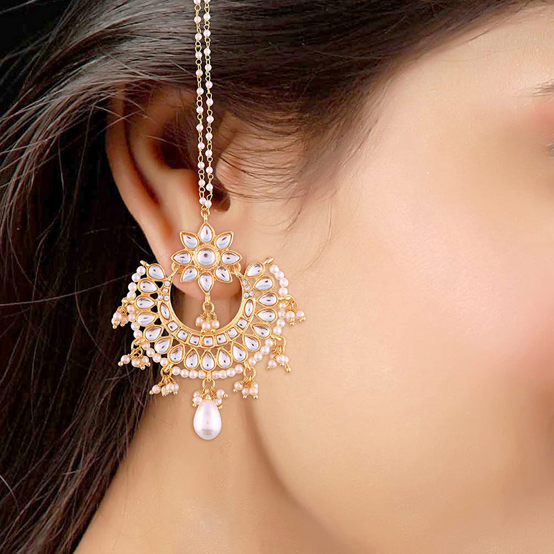 Gold Plated White Kundan Chandbali Earrings With Chain For Women (E2453W)