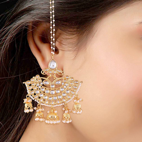 Gold Plated White Kundan Jhumki Earrings With Chain For Women (E2455W)