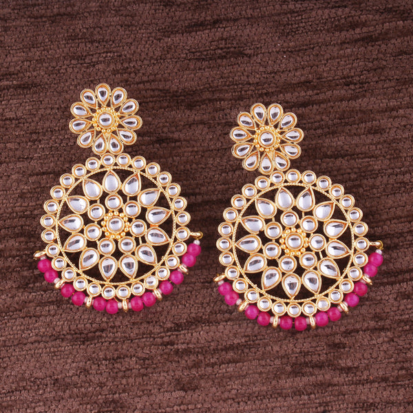 Gold Plated Kundan Stylish Elegant Lookethnic Earrings for Women