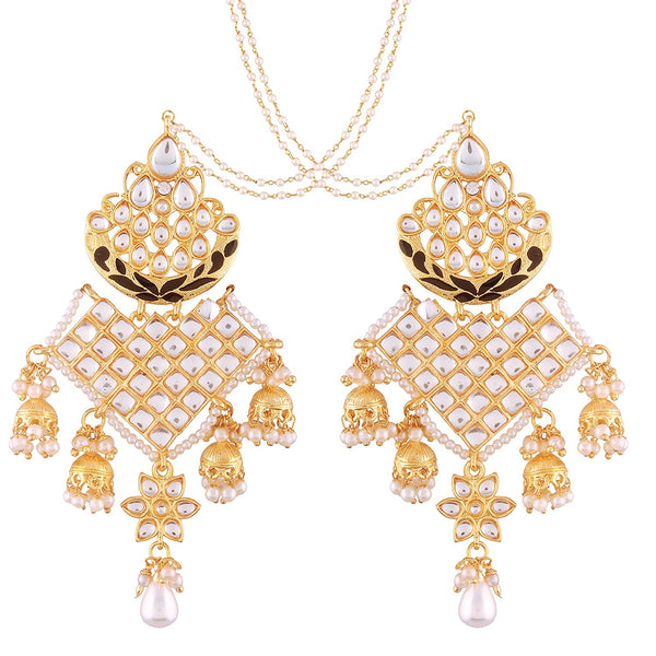 Black Gold Plated Kundan Jhumki Earrings with Chain for Women